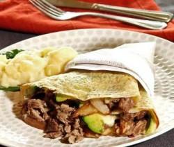 receta Crepa rellena de filete de res